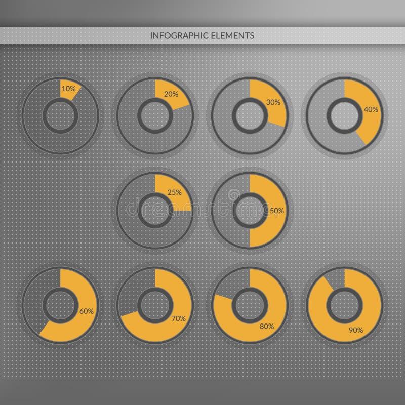 10 20 25 30 40 50 60 70 80 símbolos del gráfico de sectores del 90 por ciento Infographics del vector del porcentaje Ejemplo para stock de ilustración