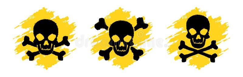 Símbolos del Grunge del peligro tóxico Muestras del vector del veneno Cráneo y muestras de la bandera pirata Muestras del vector  ilustración del vector