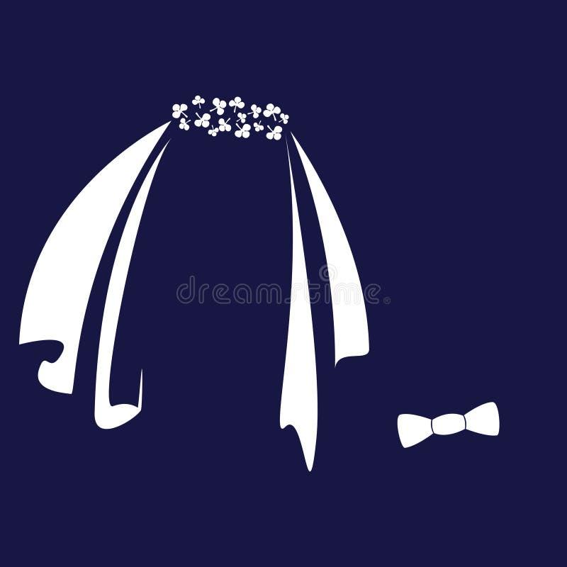 Símbolos del icono de la novia y del novio ilustración del vector