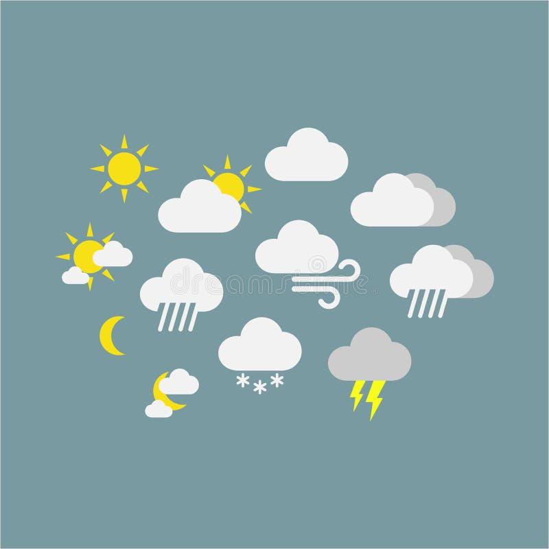 Símbolos del icono del vector de la previsión metereológica Iconos soleados, lluviosos, nevosos, ventosos coloridos ilustración del vector