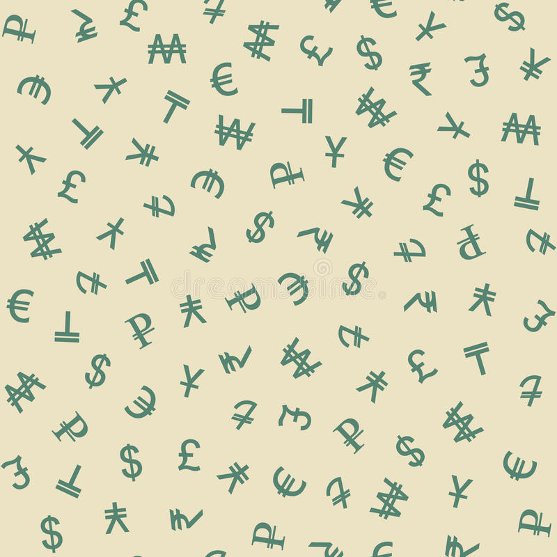 Símbolos del modelo inconsútil de las diversas monedas libre illustration