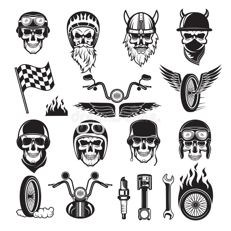 Símbolos del motorista Las banderas de la bici del cráneo ruedan siluetas del vector de la motocicleta del motor de los huesos de ilustración del vector
