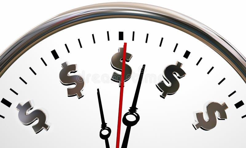 Símbolos del reloj de las muestras de dólar el tiempo es oro ilustración del vector