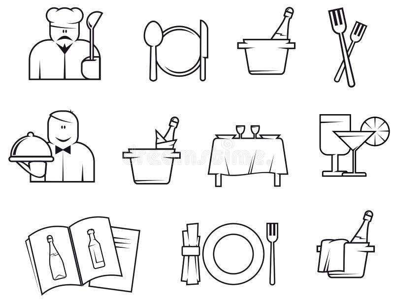 Símbolos del restaurante stock de ilustración
