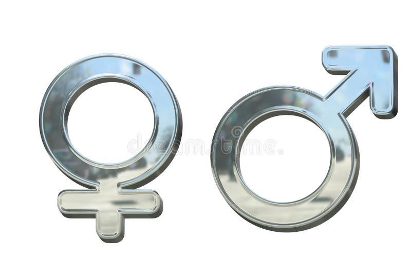 Símbolos del sexo 3D del metal de la plata o del cromo aislados libre illustration
