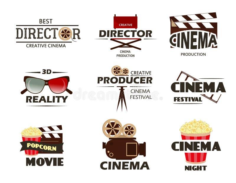 Símbolos del vector del cine y colección retra de los emblemas stock de ilustración