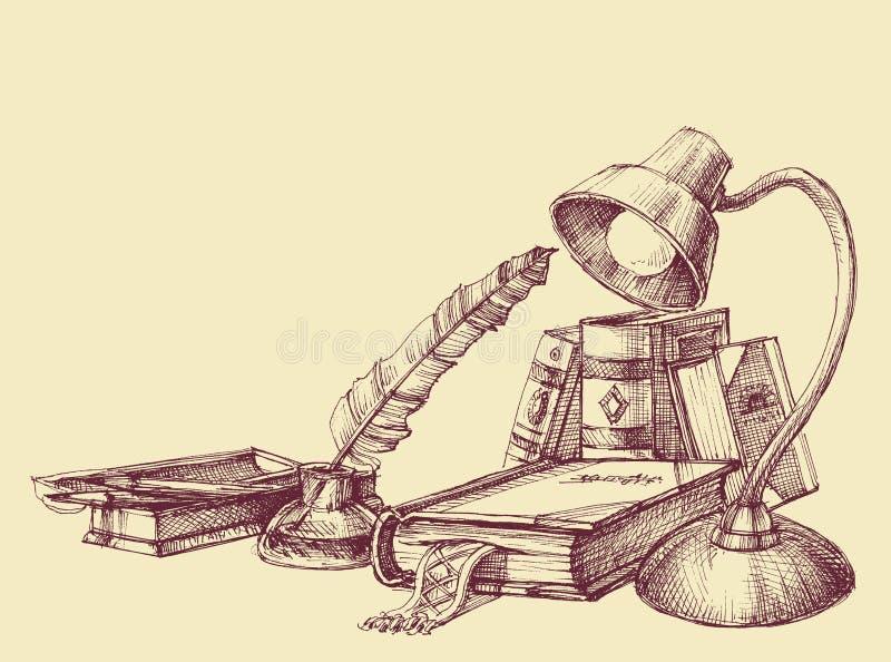 Símbolos del vintage de la educación y del estudio stock de ilustración