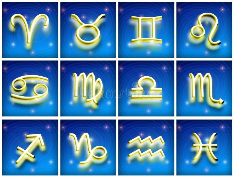 Símbolos del zodiaco ilustración del vector