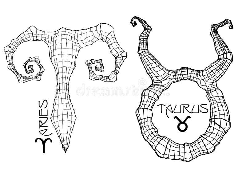 Símbolos del zodiaco del aries y del tauro ilustración del vector