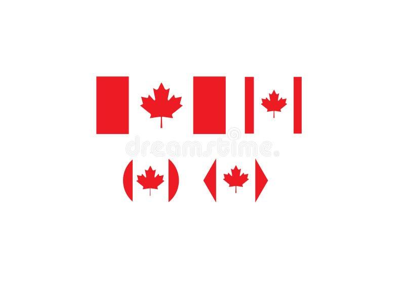 Símbolos determinados de la bandera nacional de Canadá stock de ilustración