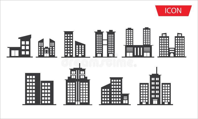 Símbolos determinados de la ciudad del icono de los edificios ilustración del vector