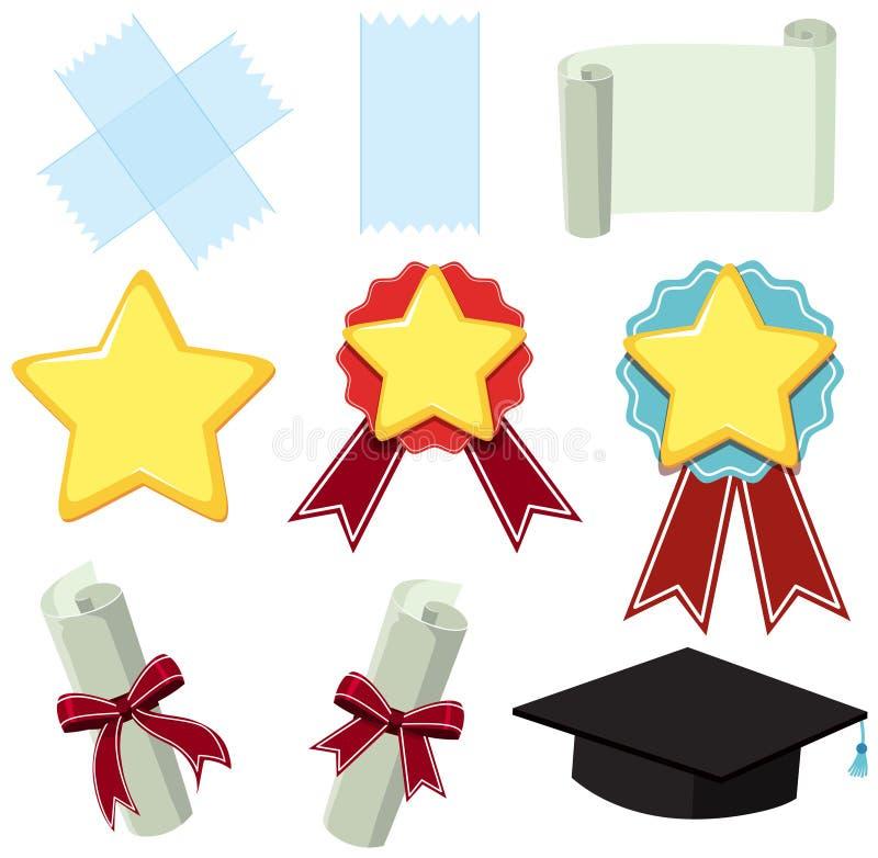 Símbolos diferentes da concessão e do papel ilustração royalty free