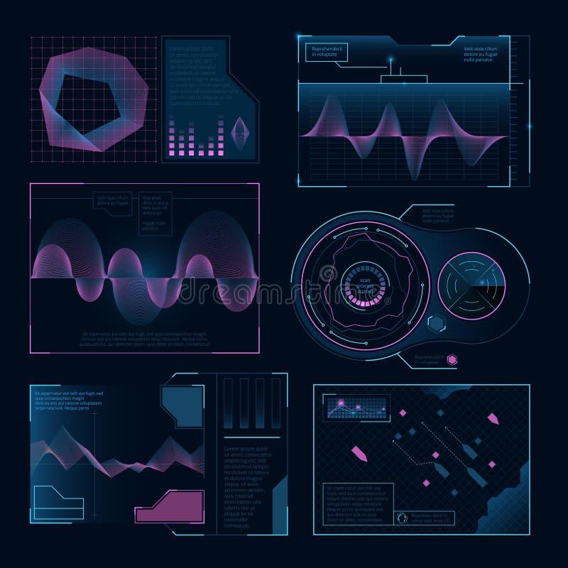 Símbolos digitales modernos del ui del web Imágenes del vector fijadas para los proyectos de diseño stock de ilustración