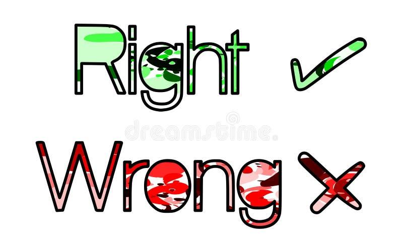Símbolos direitos ou errados coloridos isolados ilustração do vetor
