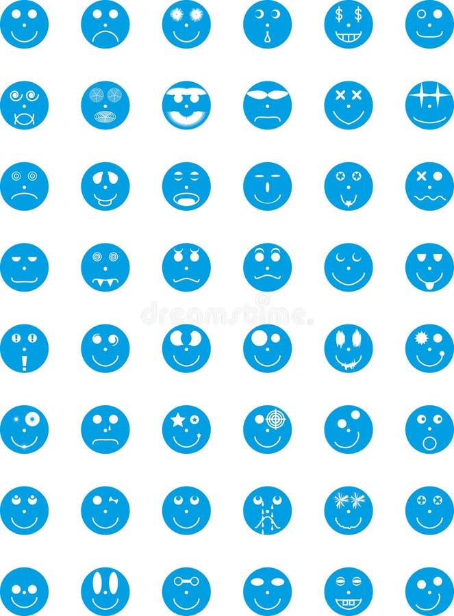 Símbolos, divisas, iconos con expresiones de personas
