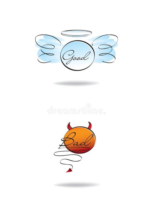 Símbolos do anjo e do diabo, bom e ruim ilustração royalty free