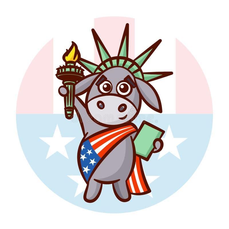 Símbolos do asno de partidos políticos de Democratas na liberdade da estátua dos EUA ilustração royalty free