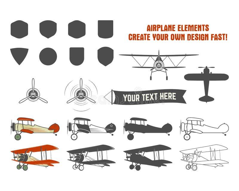 Símbolos do avião do vintage Etiquetas do gráfico de vetor do biplano Crachás planos retros, elementos do projeto A aviação carim ilustração stock