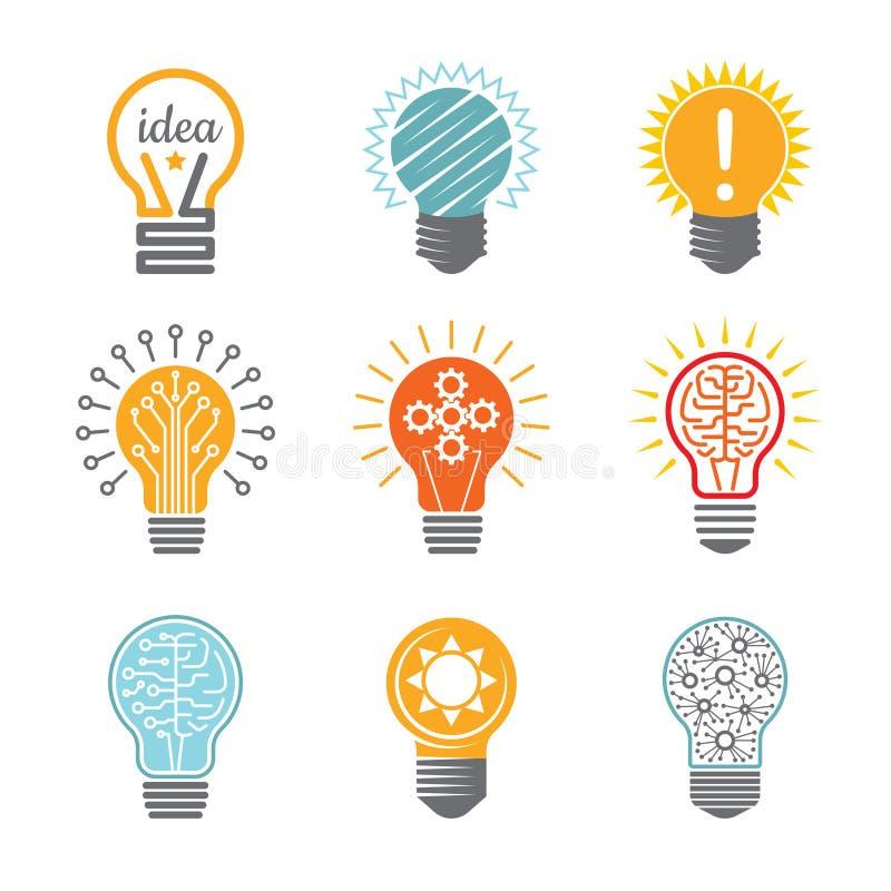 Símbolos do bulbo das ideias Ícone bonde da inovação criativa da tecnologia para moldes coloridos do vetor do logotype do negócio ilustração stock