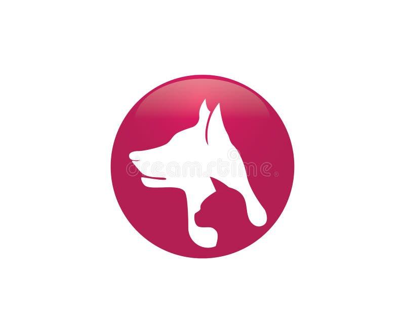Símbolos do cão e gato e ícones animais app do molde do logotipo ilustração do vetor