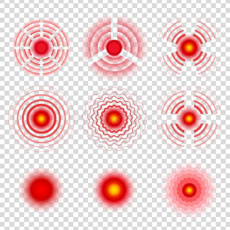 Símbolos do círculo da dor Ícones dos pontos do remédio do analgésico, sinais radiais vermelhos do vetor do alvo doloroso ilustração stock