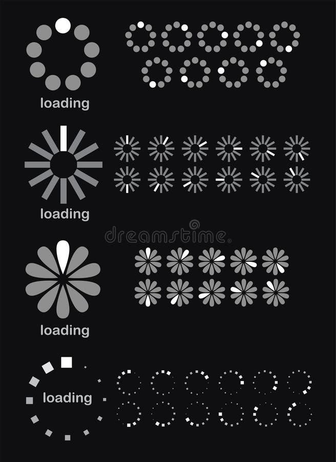 Símbolos do carregamento ilustração stock