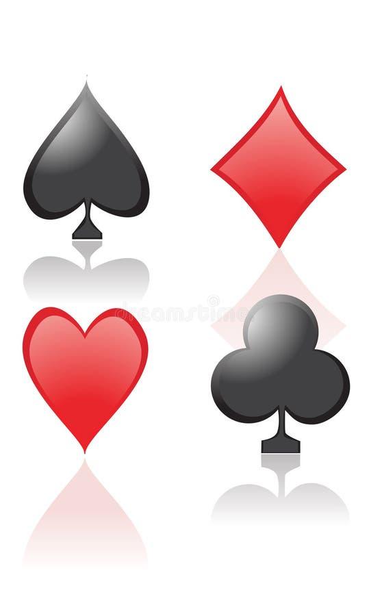 Símbolos do cartão de jogo ilustração stock