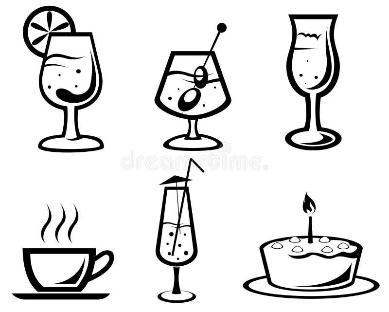 Símbolos do cocktail e da bebida ilustração royalty free