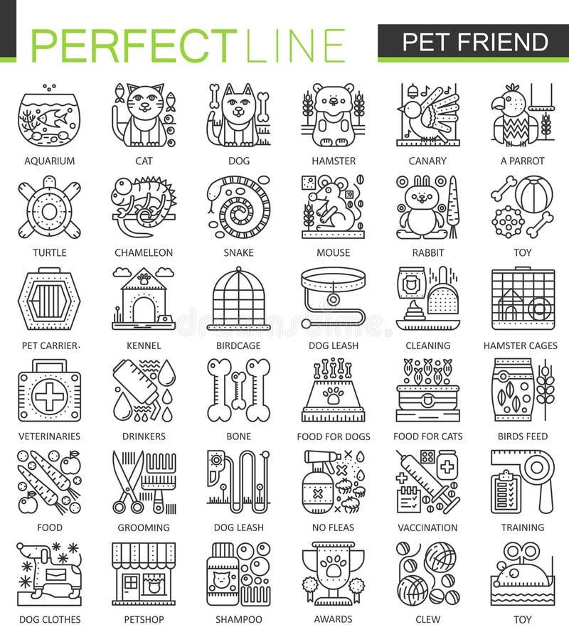 Símbolos do conceito do esboço do amigo do animal de estimação Linha fina ícones da loja de animais de estimação perfeita Ilustra ilustração royalty free