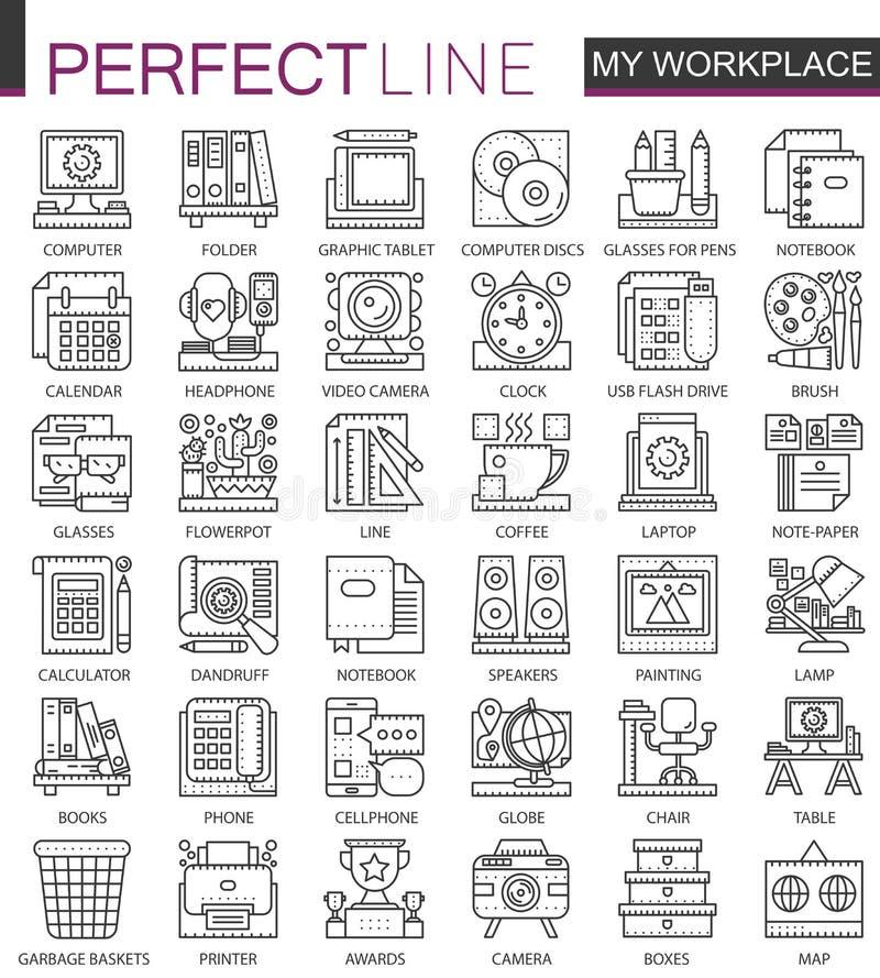 Símbolos do conceito do esboço do espaço de trabalho do escritório mini Ilustrações lineares do estilo do curso moderno ajustadas ilustração do vetor