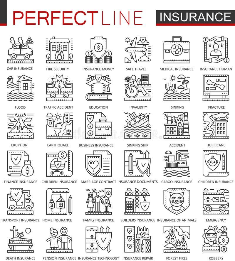Símbolos do conceito do esboço do seguro Linha fina perfeita ícones da saúde e dos cuidados paliativos Estilo linear do curso mod ilustração do vetor