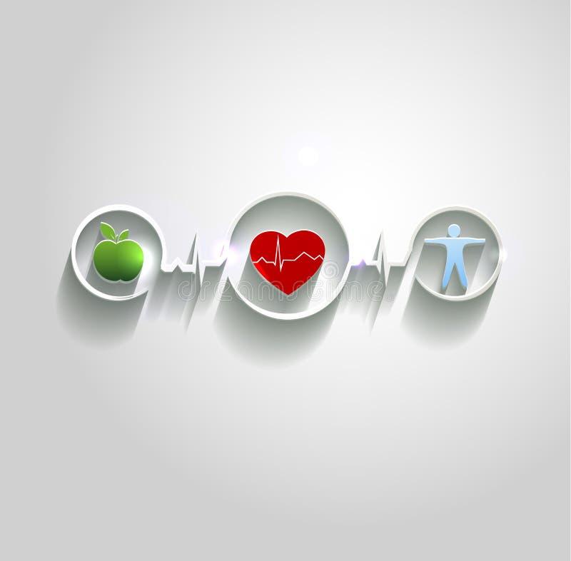 Símbolos do conceito dos cuidados médicos conncected ilustração stock