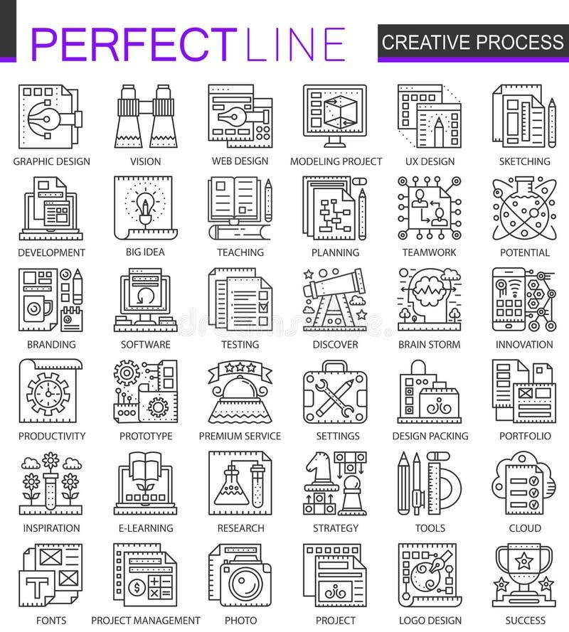 Símbolos do conceito do esboço criativo do processo mini Ilustrações lineares do estilo do curso moderno ajustadas Linha fina per ilustração stock