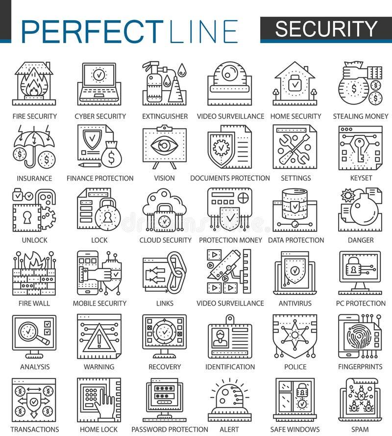 Símbolos do conceito do esboço da segurança mini Ilustrações lineares do estilo do curso moderno da tecnologia da proteção do PC  ilustração do vetor