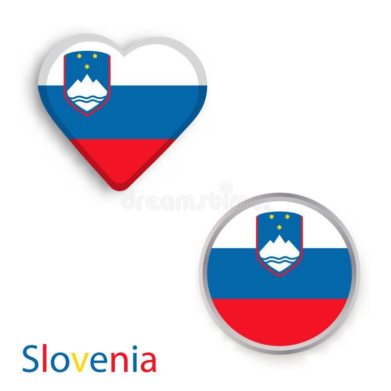 Símbolos do coração e do círculo com a bandeira de Eslovênia ilustração do vetor