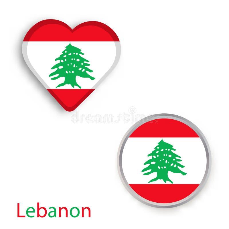 Símbolos do coração e do círculo com a bandeira de Líbano ilustração royalty free