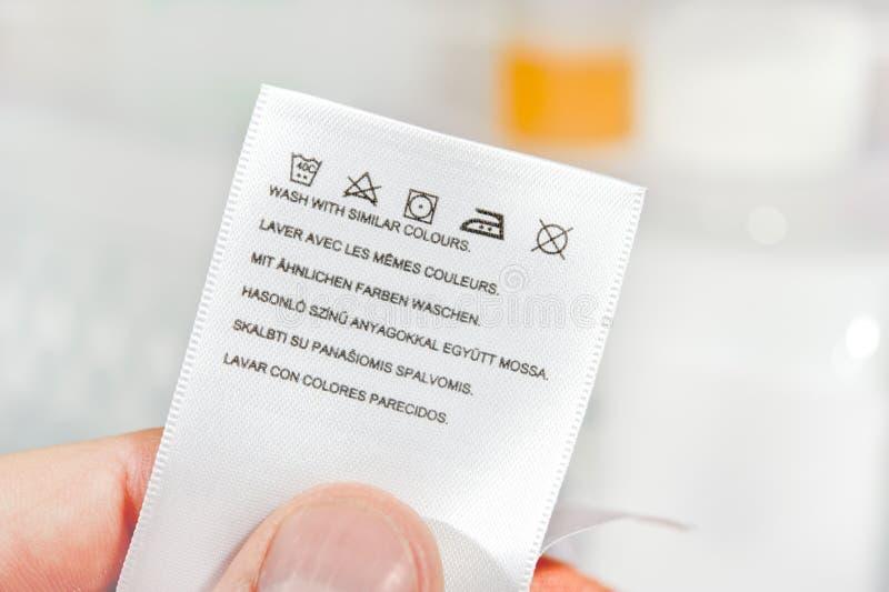 Símbolos do cuidado da lavanderia. fotos de stock royalty free