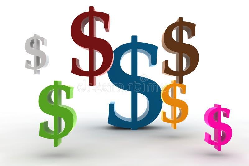 Símbolos do dólar ilustração do vetor