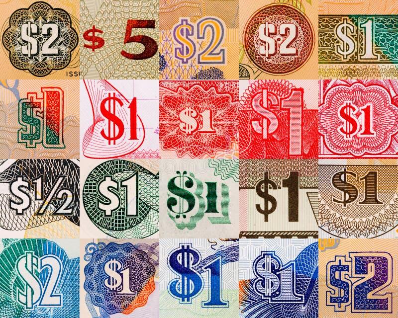 Símbolos do dólar de pelo mundo inteiro foto de stock