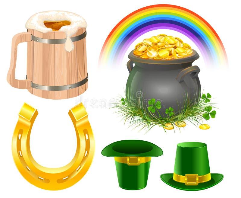 Símbolos do dia de Patricks A caneca de cerveja irlandesa, arco-íris, chapéu do duende, potenciômetro inventa, ferradura dourada ilustração stock