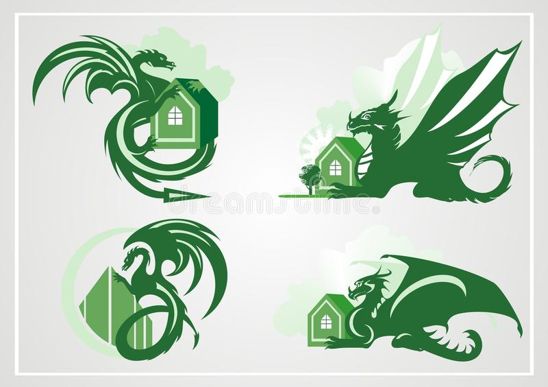 Dragão com a casa ilustração stock