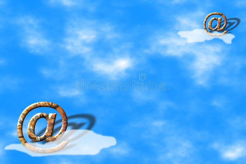 Símbolos do email sobre o céu azul ilustração royalty free