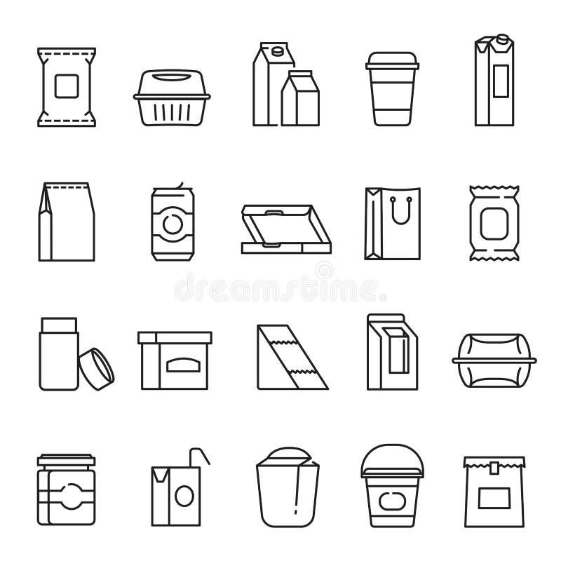 Símbolos do empacotamento de alimento, linha grupo do ícone da arte ilustração stock