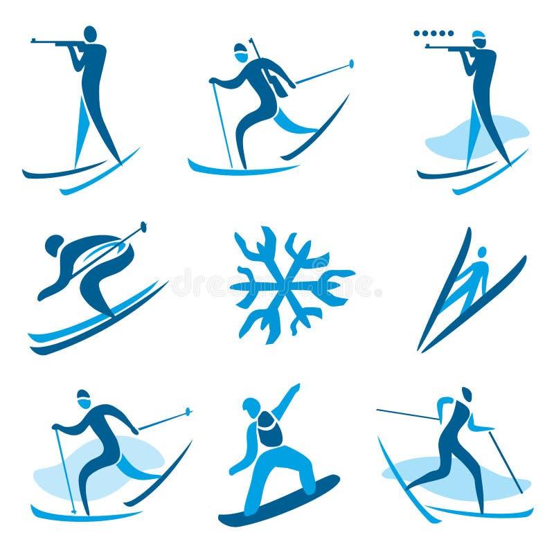 Símbolos do esporte de inverno ilustração royalty free