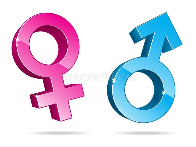 Símbolos do género em 3D ilustração do vetor