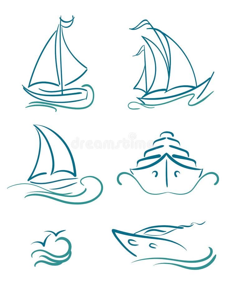Símbolos do iate e dos veleiros ilustração stock