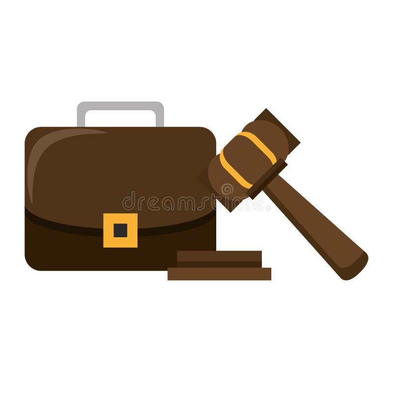 Símbolos do martelo e da pasta de justiça ilustração do vetor