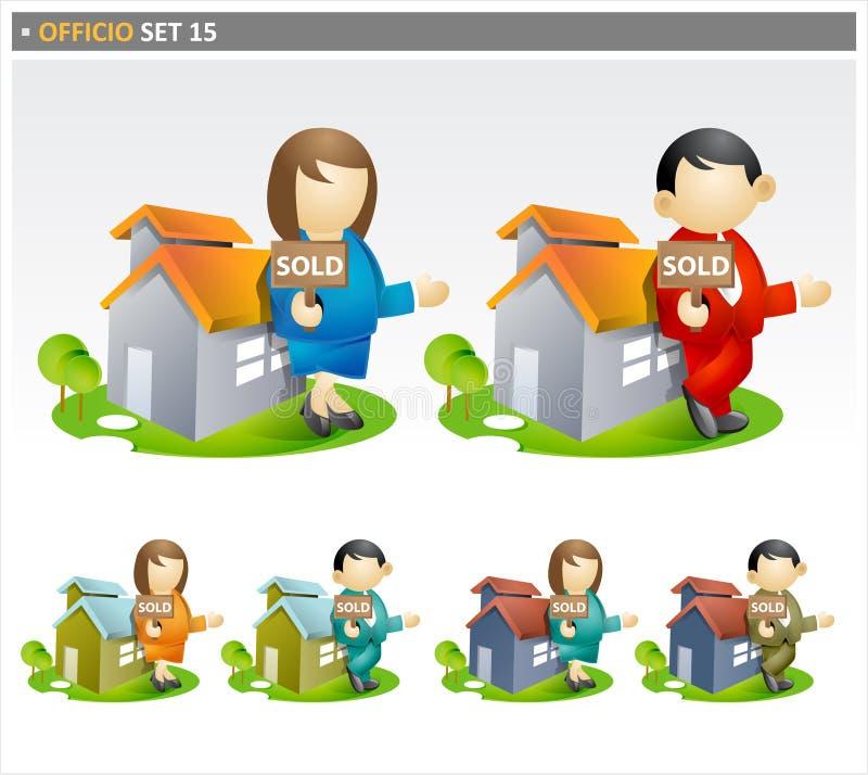 Símbolos do mediador imobiliário ilustração do vetor