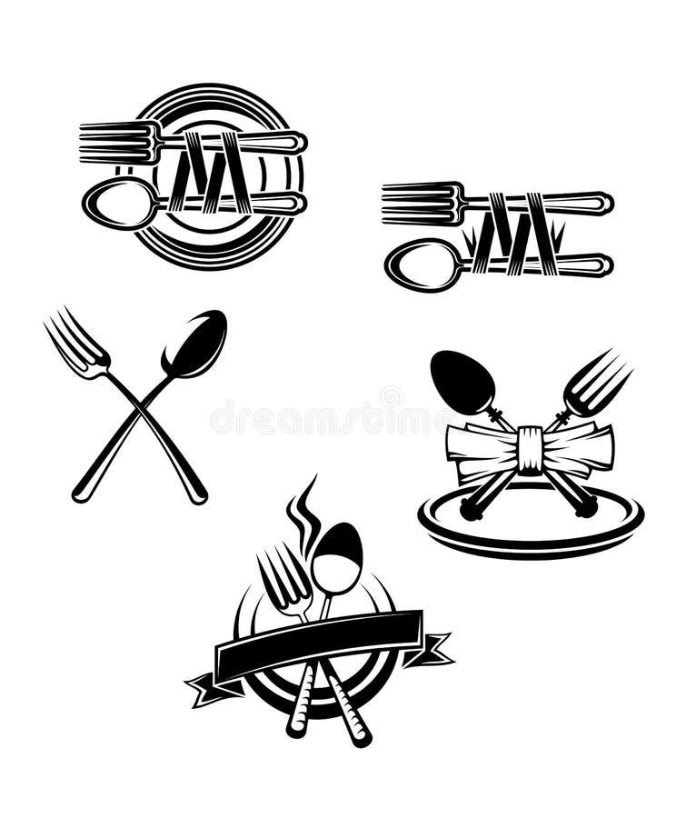 Símbolos do menu do restaurante ilustração do vetor