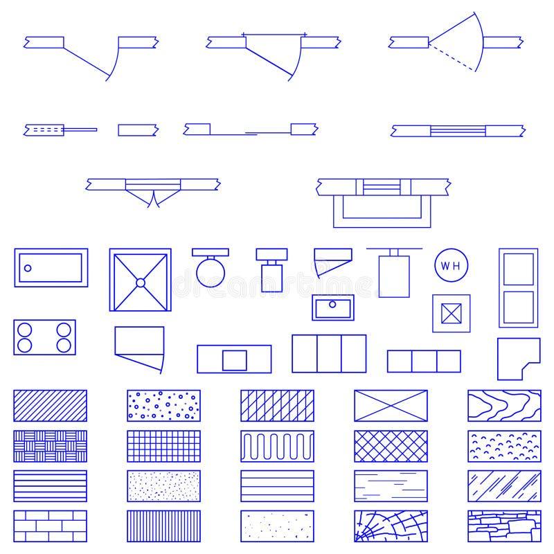 Símbolos do modelo usados por arquitetos ilustração do vetor